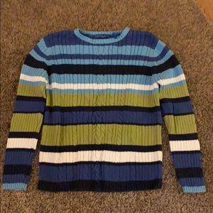 Karen Scott Blue & Green Striped Sweater